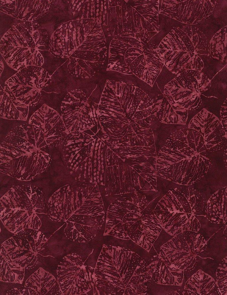 Fossil Leaf Batik Tonga-B9533-Ruby