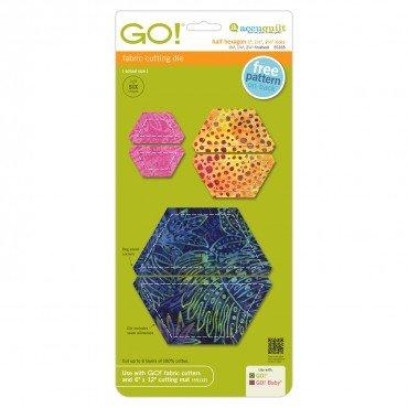 GO! Half Hexagon-1 1 1/2 2 1/2 Sides (3/4 1 1/4 2 1/4 Finished)