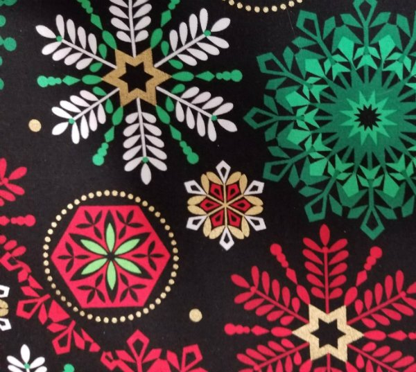 Deck the Halls - Modern Snowflakes Black Background
