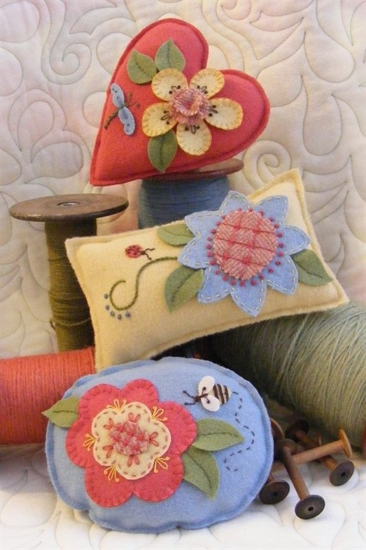 Wool Big Flower Pincushions
