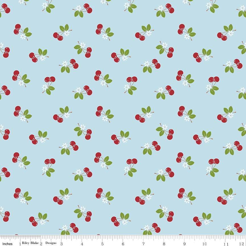 Sew Cherry Aqua with Red Cherries