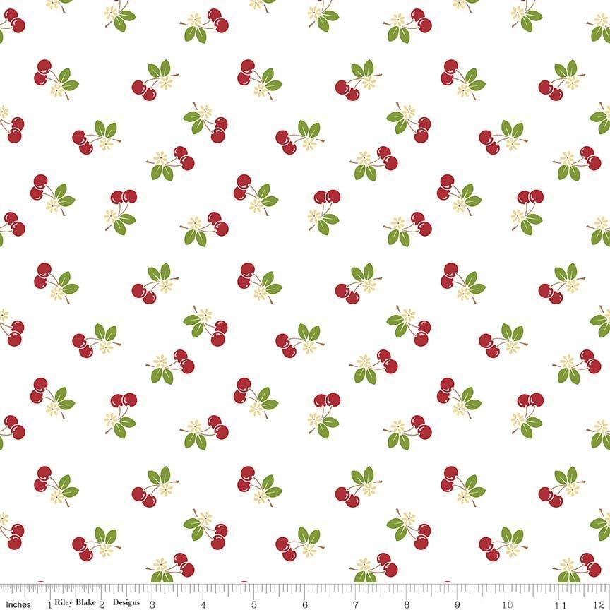 Sew Cherry 2 - White with Red Cherries