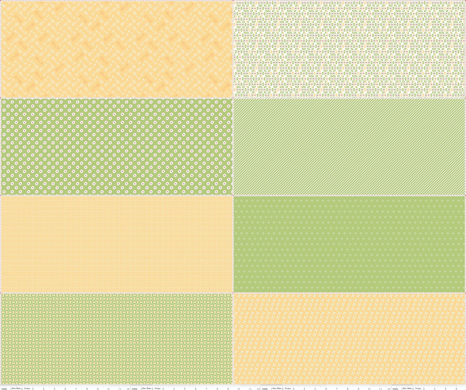 Bake Sale 2 -  Green Bake 2 Fat Eighth Panel