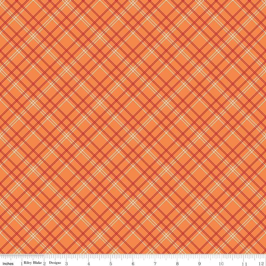 Bee Backings/Borders Backings Plaid Orange 107/108 Wide