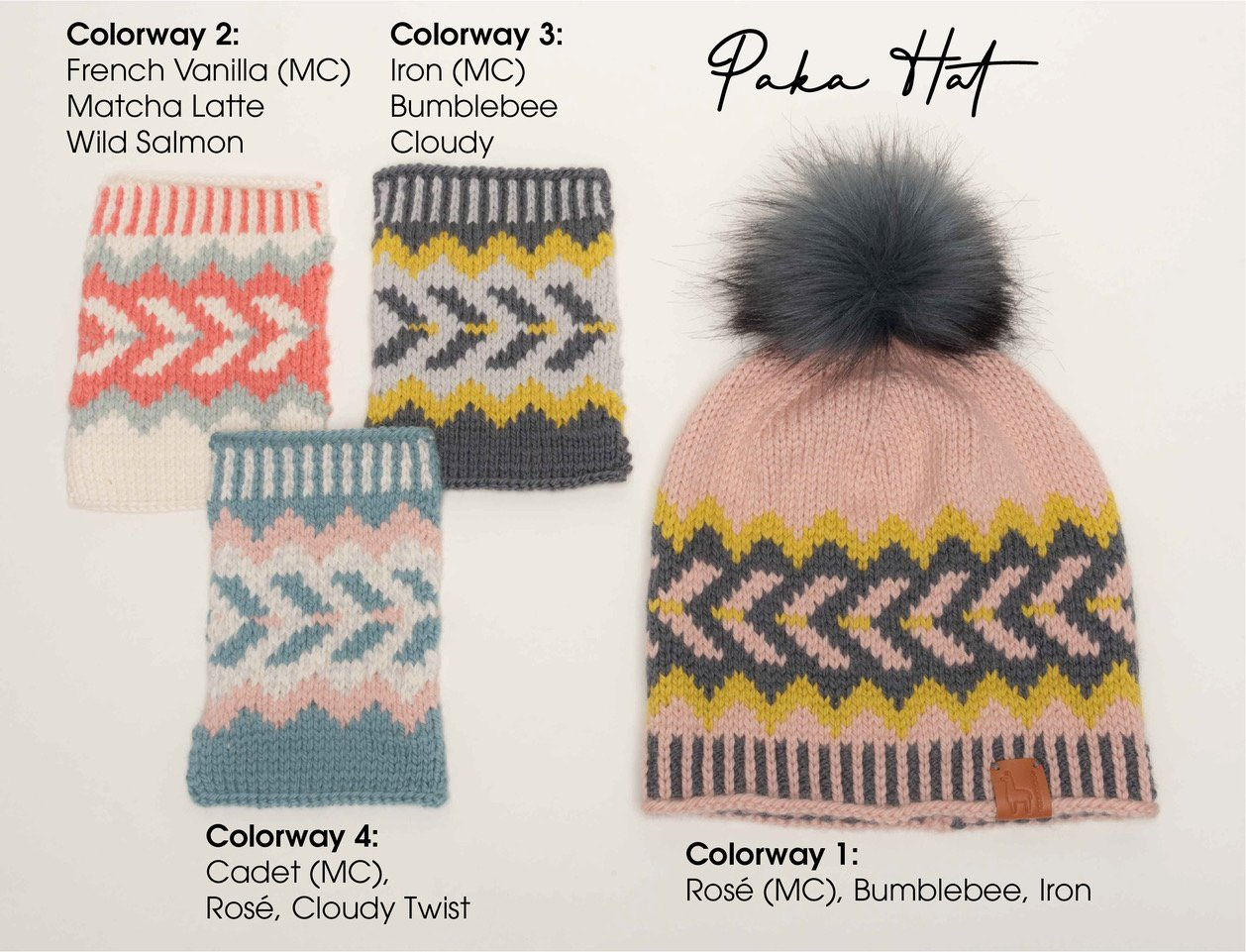 Ikigai Paka Hat Kit Without Pom Pom - Color Way 1- Rose