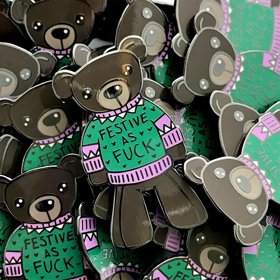 Christopher Straub Enamel Pin - Festive Bear
