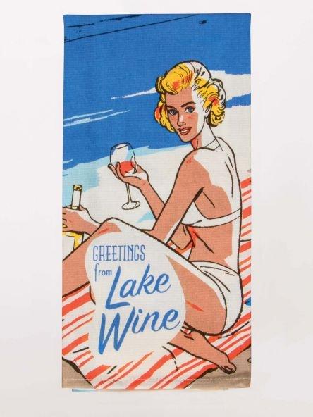 Blue Q Dish Towel - Greetings From Lake Wine