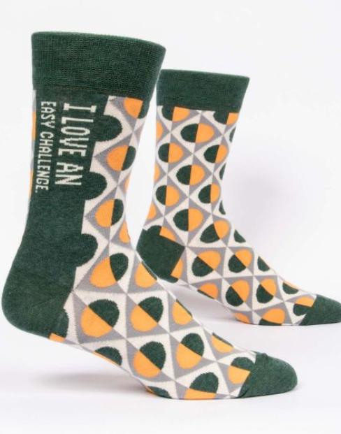 Blue Q Men's Socks - I Love An Easy Challenge (Green)