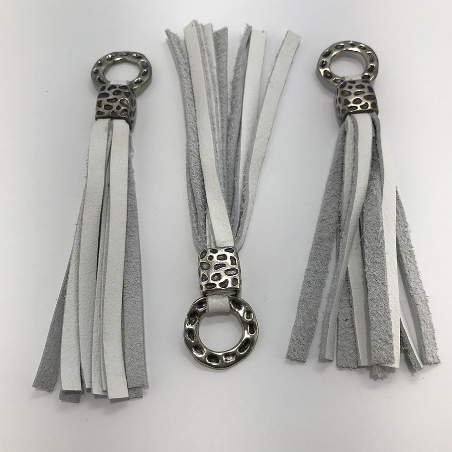Leather Tassel - White