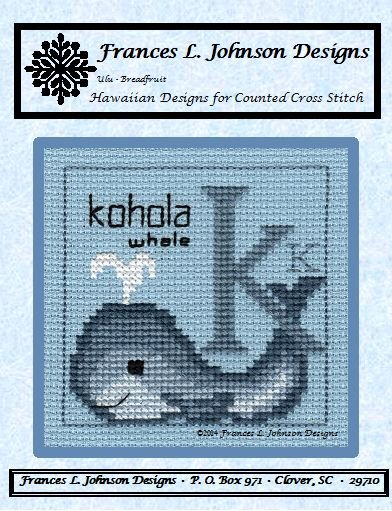 K - Kohola (Whale) Counted Cross Stitch Pattern by Frances L. Johnson