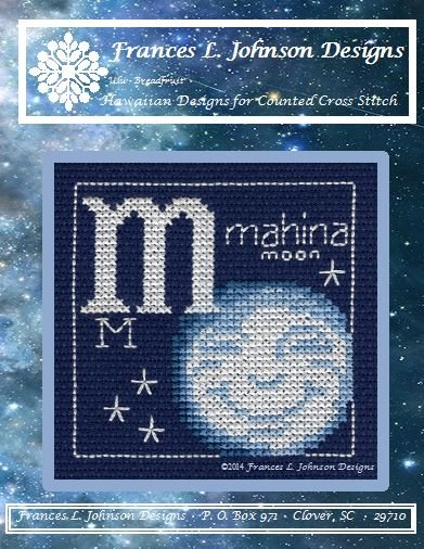M - mahina (Moon) Counted Cross Stitch Pattern by Frances L. Johnson