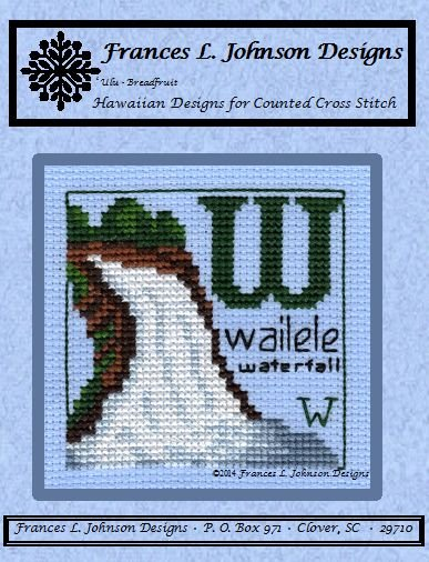 W - wailele (waterfall) Counted Cross Stitch Pattern by Frances L. Johnson