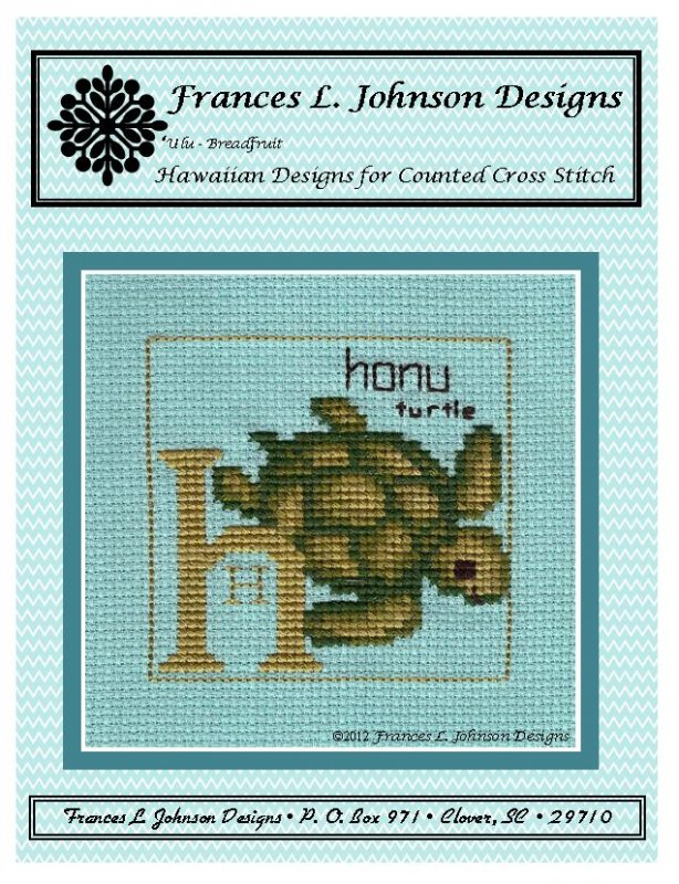 H - Honu (Turtle) Counted Cross Stitch by Frances Johnson