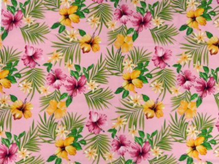 Hibiscus and Tiare Fabric-Pink Background