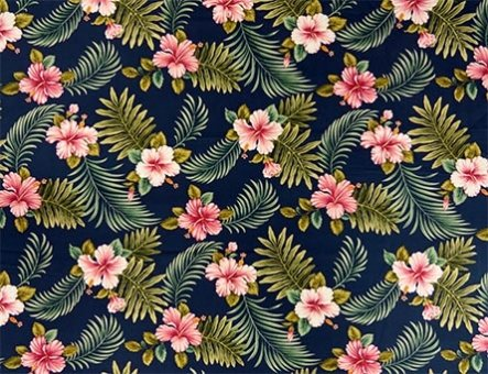 Hibiscus with Tropical Leaves Fabric-Navy Background