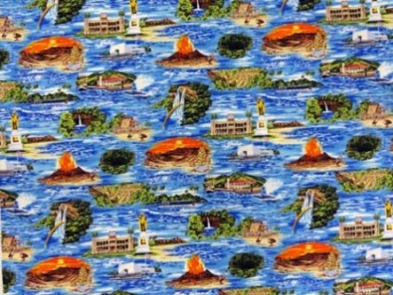 Iconic Scenes from the Hawaiian Islands Fabric- Blue Background