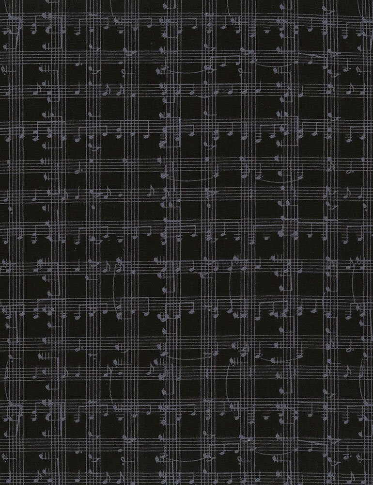 Music Note Grid Fabric-Black