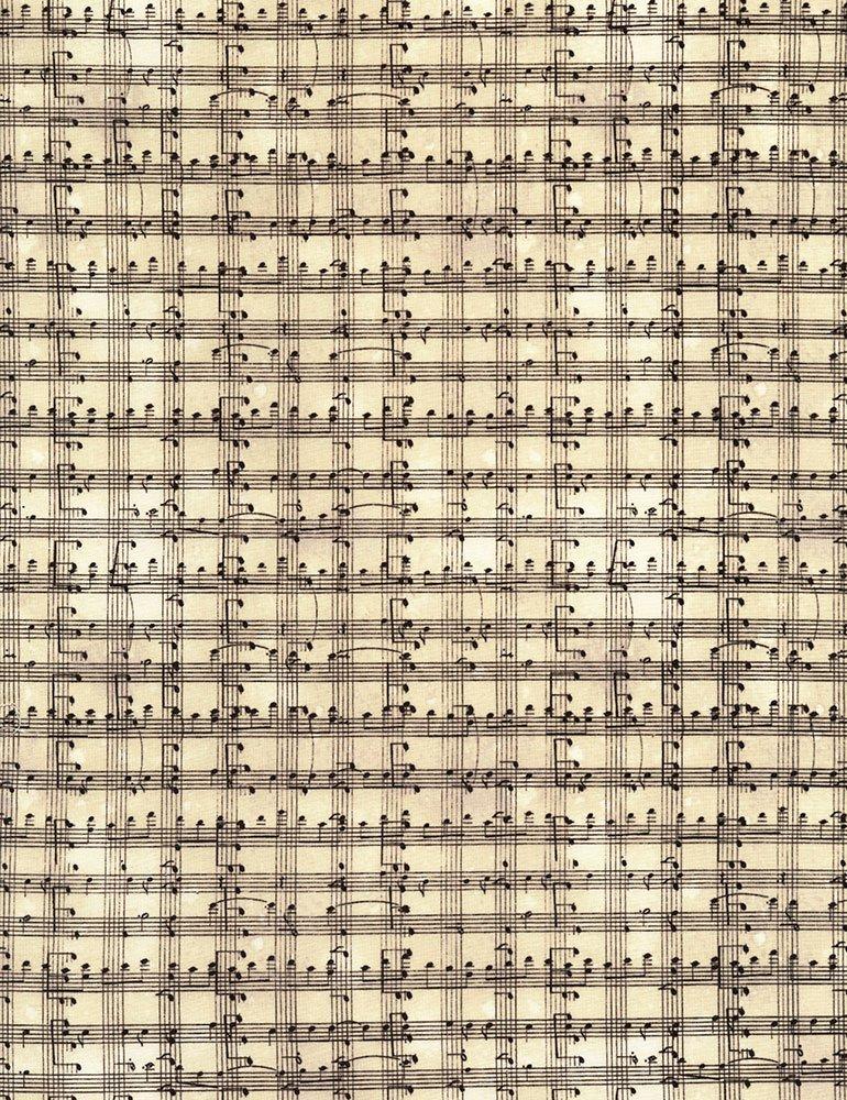 Music Notes Grid Fabric-Cream
