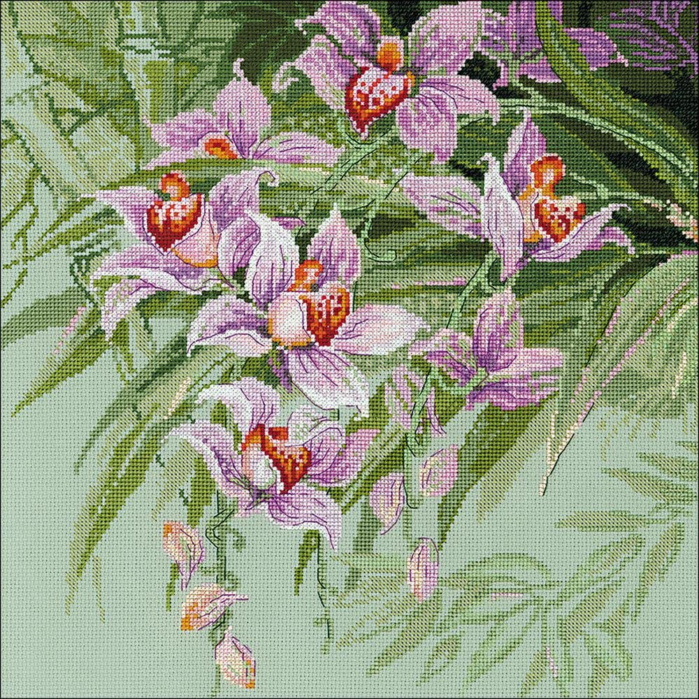 Orchids Counted Cross Stitch Kit 13.5 x 13.5