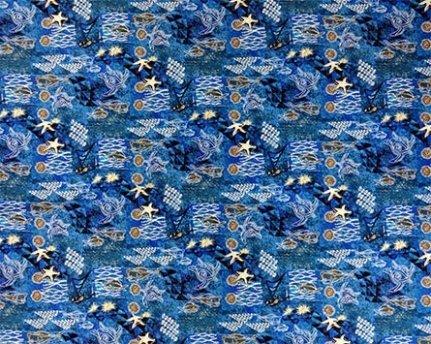 Tapa Under the Sea Fabric- Blue