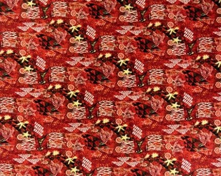 Tapa Under the Sea Fabric- Red