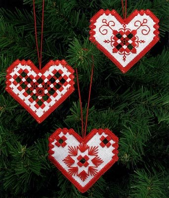 Permin Hardanger Heart Ornament kit