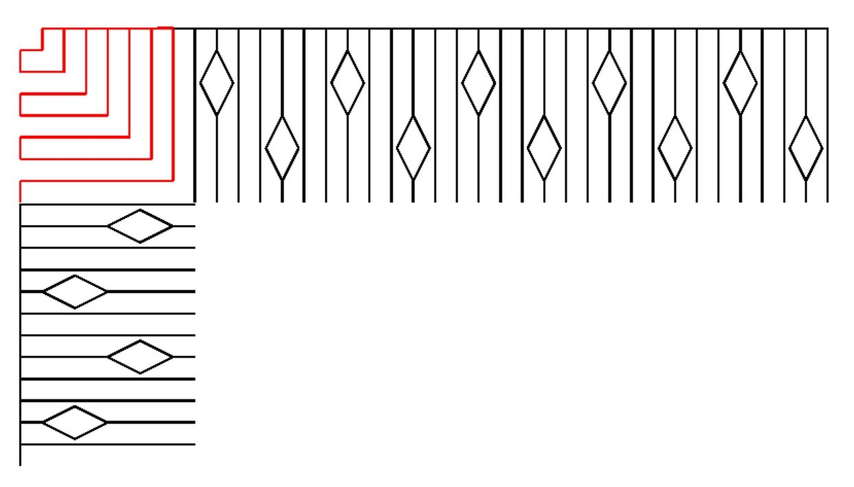 Piano Key Diamond Border and Corner