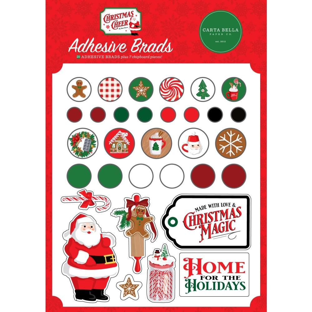 Carta Bella Christmas Cheer Adhesive Brads