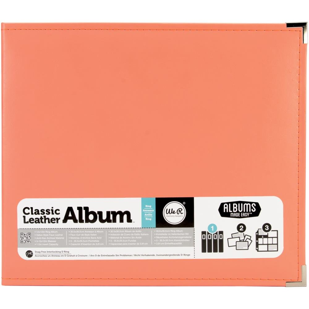 Classic Leather Ring 12X12 - Coral