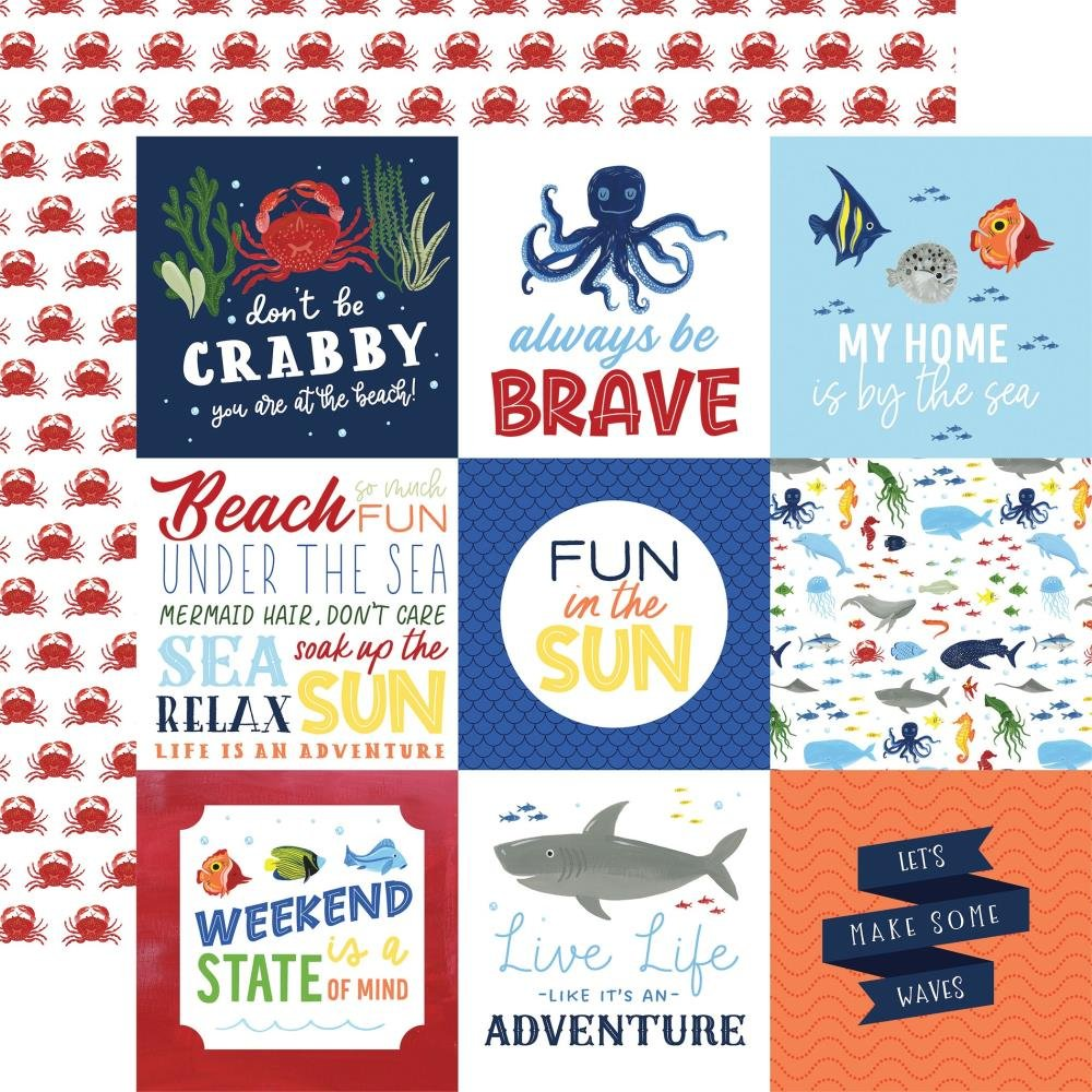 Echo Park Under Sea Adventures  (Double Sided 12x12) 4 x 4 Journal Cards