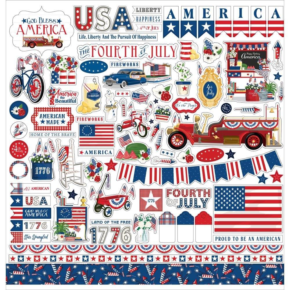 Carta Bella God Bless America 12 x 12 Element Sticker