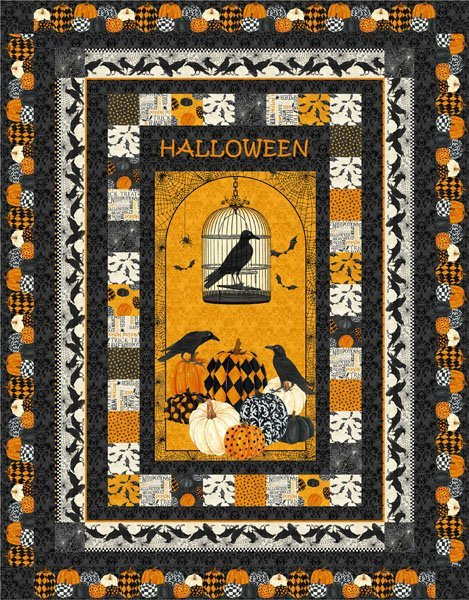 Ravens Halloween Quilt kit-By Hedgehog quilts and Northcott Fabircs 66x84