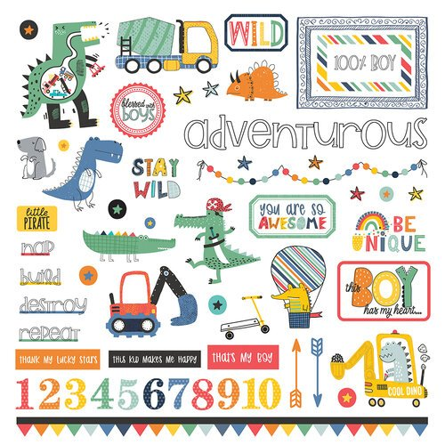 Photo Play - Little Boys Have Big Adventures Element Stickers 12x12