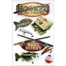 Paper House - Hooked on Fishing Layered 3D Stickers