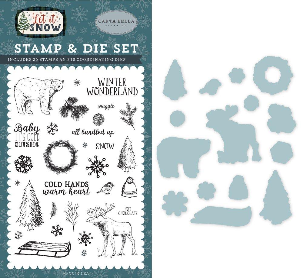 Carta Bella - Let it Snow Cold Hands & Warm Heart Stamp &  Die Set