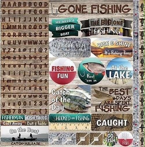 Reminisce Gone Fishing 12x12 Stickers