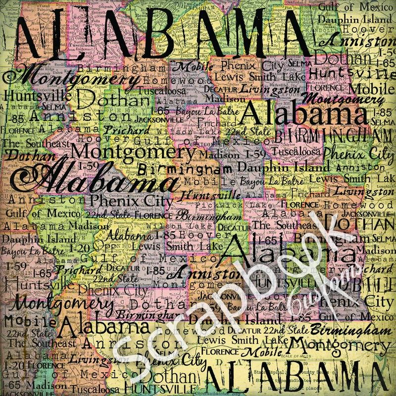Alabama Map 12x12 Paper
