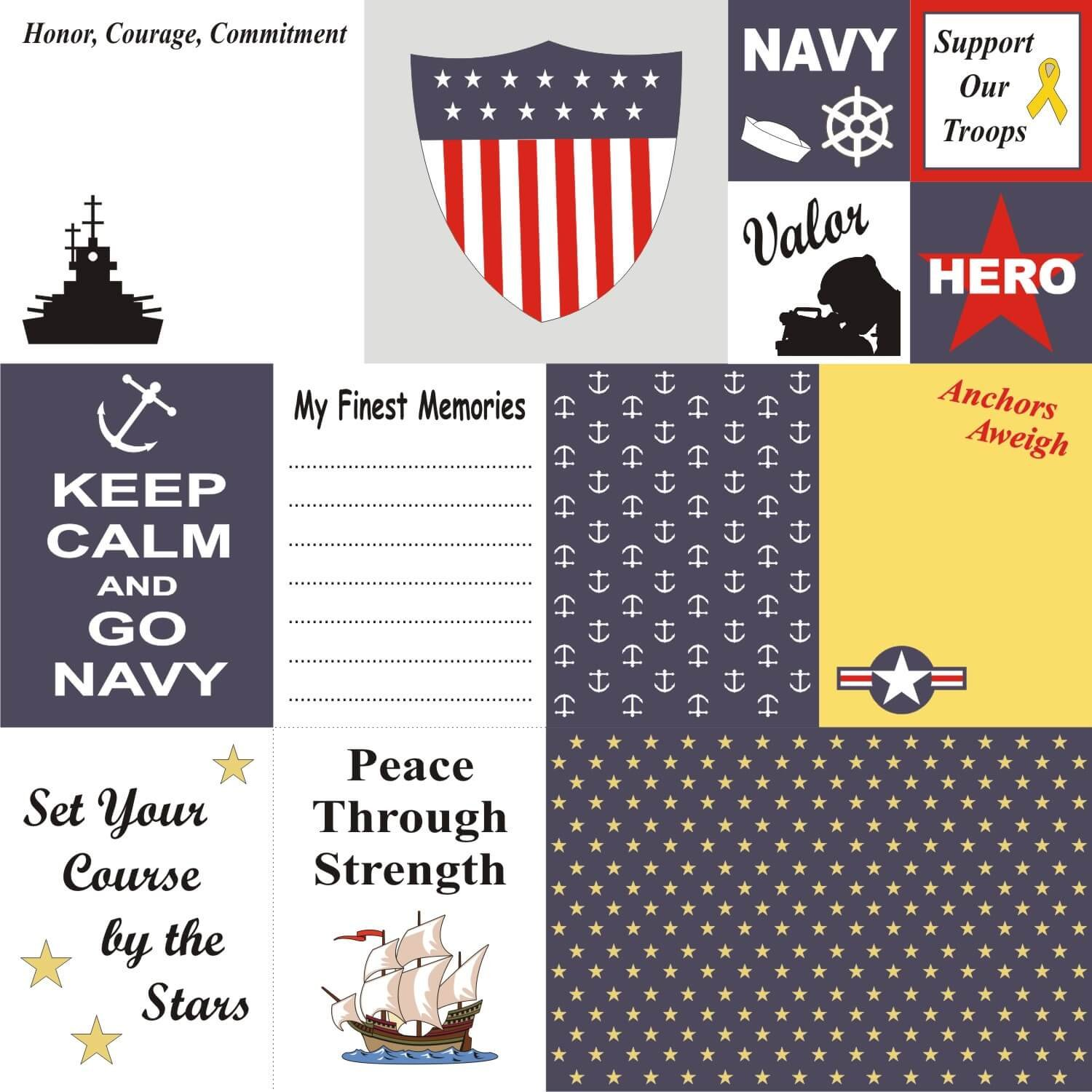 Petticoat Parlor - US Navy Cards 12x12 Paper