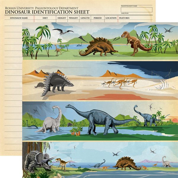 Carta Bella - Dinosaurs Border Strips 12x12 Paper