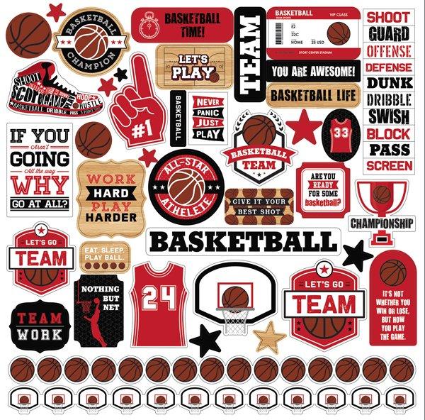 Echo Park - Basketball Element Stickers 12x12