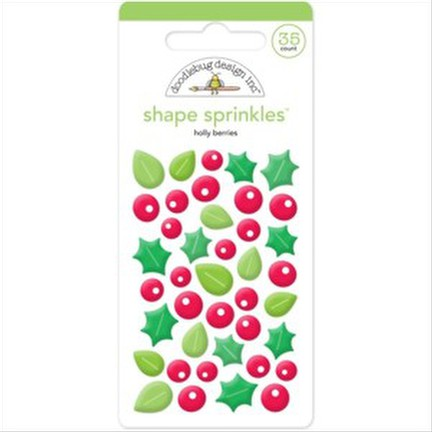 Doodlebug - Holly Berries Shape Sprinkles