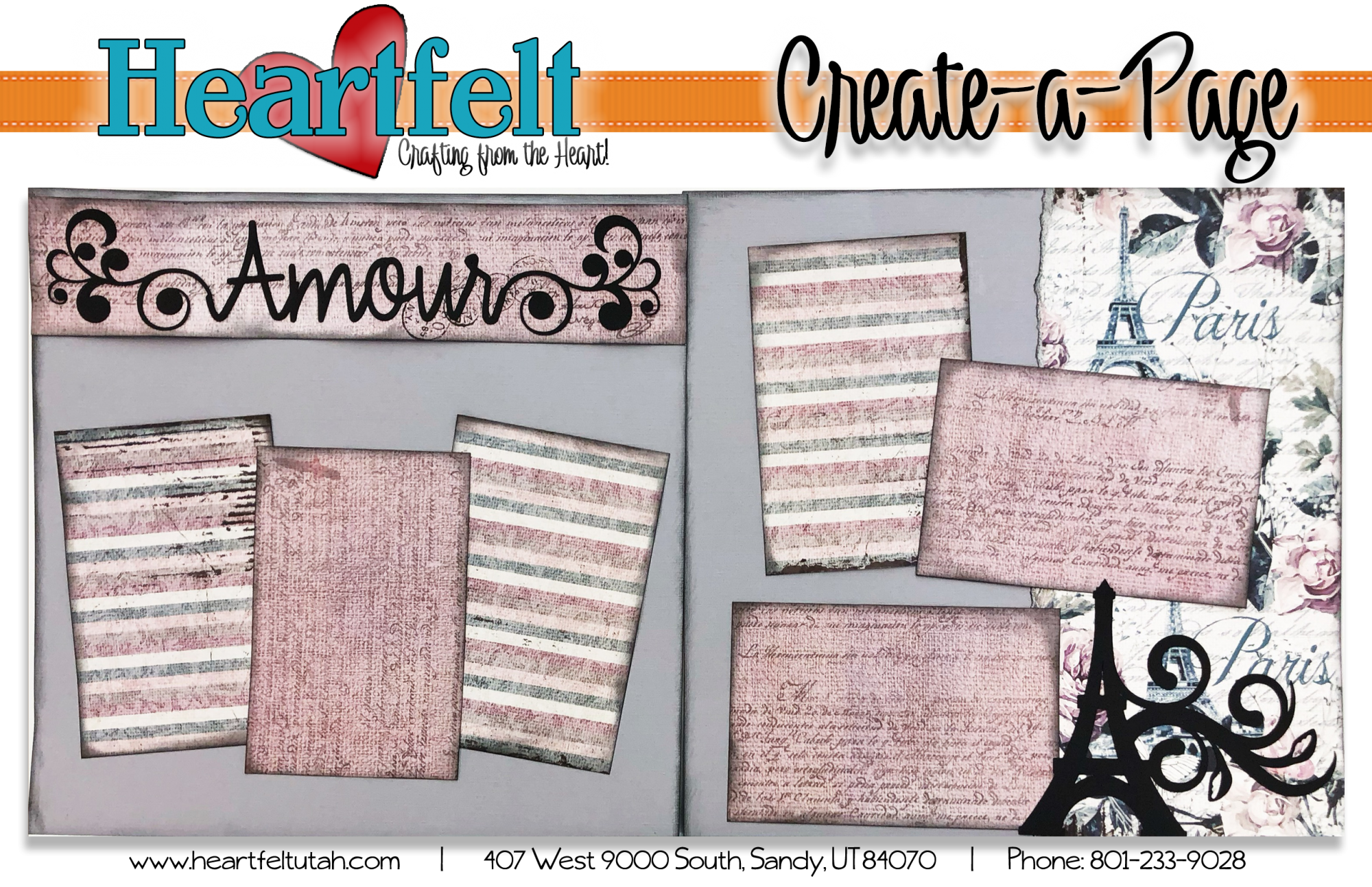 Amour Paris 2 Page Layout Page Kit