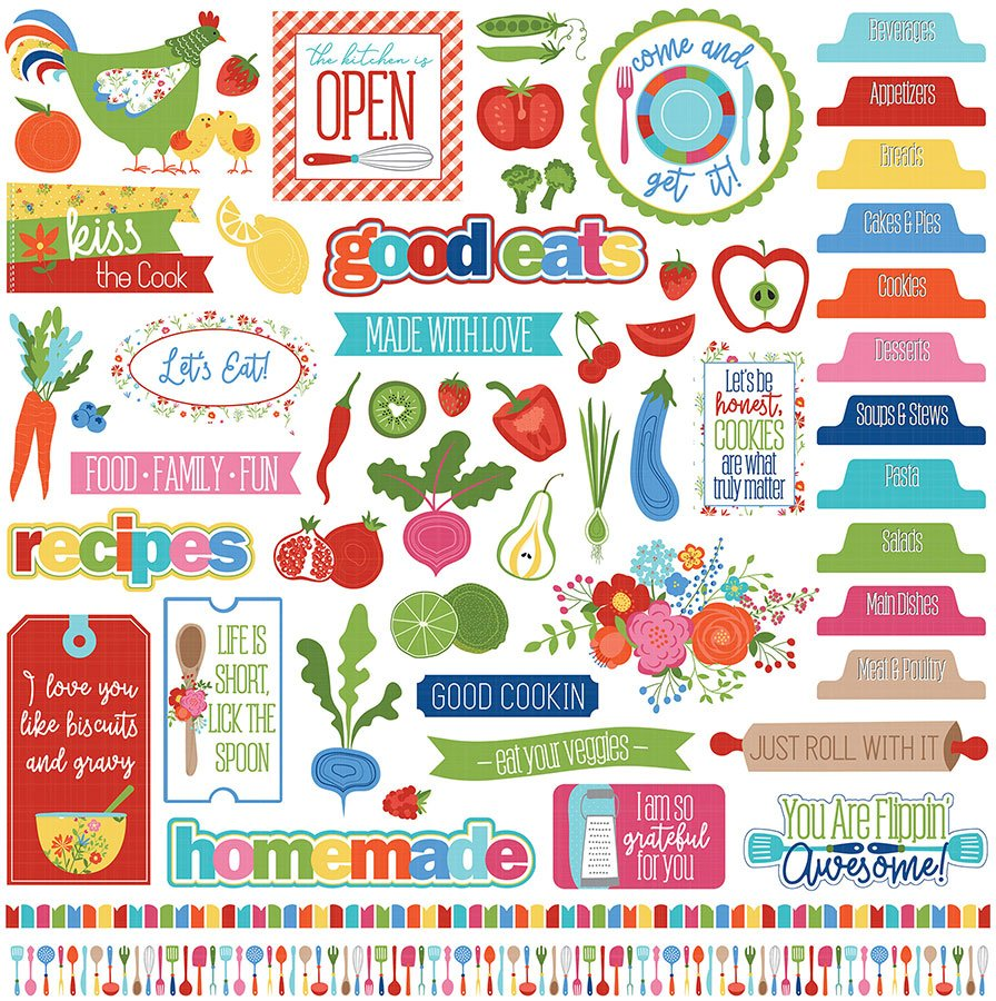Photo Play - What's Cooking Element Stickers 12x12