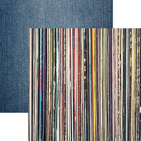 Reminisce - Good Vibes Stack of Vinyl Records 12x12 Paper
