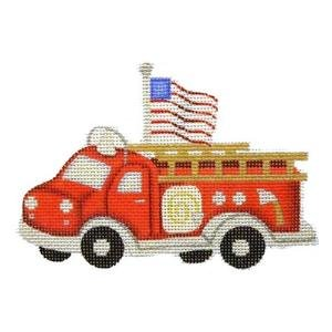 Red Fire Engine with Flag