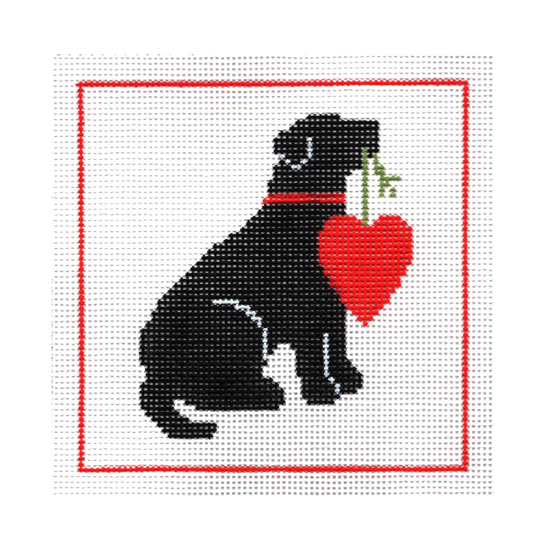 Black Dog with Red Heart