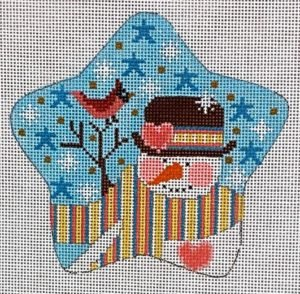 Snowman Star with Red Bird