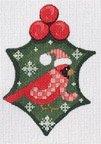 Cardinal Holly Ornament