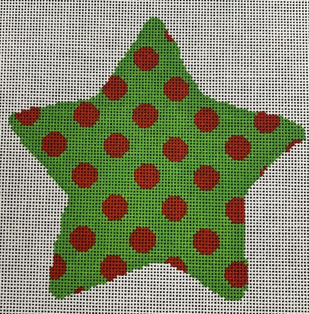 Green with Red Polka Dots Star