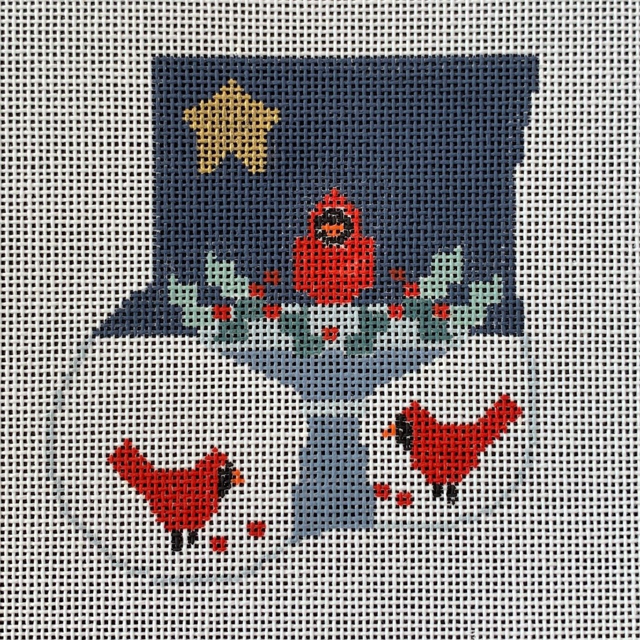 Bird Bath with Cardinals Mini Sock